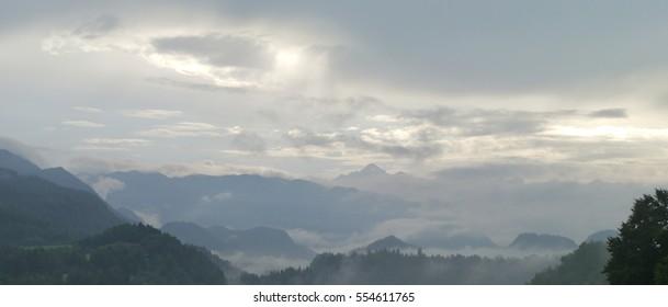 Radovljica, Slovenia, cloudy mountain view.