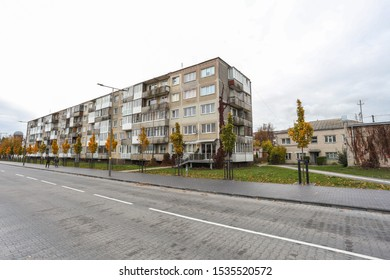 Radviliskis/ Lithuania- October 13, 2019: Typical soviet style building of one hundred flats , built in 1972. Building located in Radviliskis town Gedimino street number 1 .