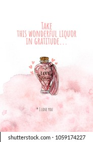 Rady made gift postcard Take this wonderful liquor in gratitude... I love you. Admit to whom you love!