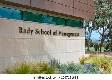 Rady School of Management sign at UCSD - La Jolla, California, USA - April 21, 2019