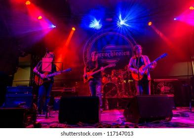 "RADZIONKOW, POLAND - SEPTEMBER 02: The show of Ash'n'beher band during StreetART festival"". September  02, 2012 in Radzionkow,(Silesia province), Poland."