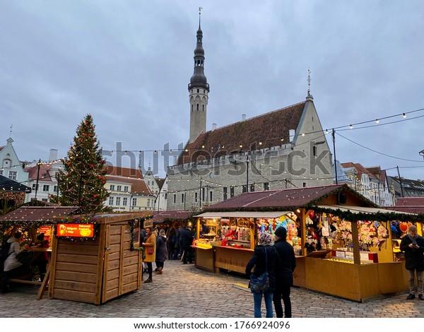 RAEKOJA PLATS, TALLINN / ESTONIA - DECEMBER 23, 2019: Tallinn Christmas Market (Tallinna Jõuluturg)