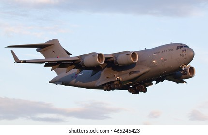 RAF BRIZE NORTON, UNITED KINGDOM - AUGUST 6, 2016: Royal Air Force Boeing C17A Globemaster III Transport Aircraft (ZZ173) on approach to land at RAF Brize Norton, United Kingdom.