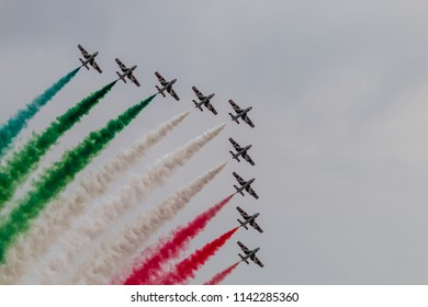 RAF FAIRFORD, ENGLAND - July 13, 2018: Frecce Tricolori formation display team of the Italian Air Force (Aeronautica Militare Italiana) at the Royal International Air Tattoo 2018 at Fairford, England