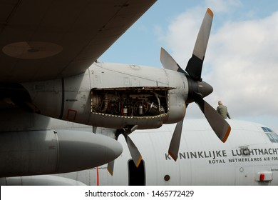 RAF Fairford, Gloucestershire UK - 20th July 2019.  Royal International Air Tattoo (RIAT) air show. An open inspection bay door on an engine of a C130 Hercules transport aircraft.