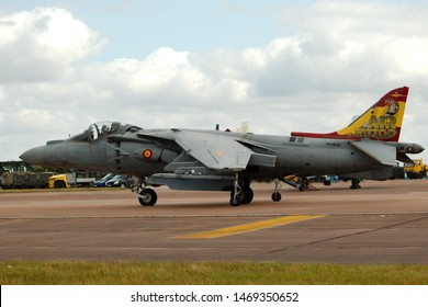 RAF Fairford, Gloucestershire UK - 20th July 2019.  Spanish air force McDonnell Douglas EAV-8B Harrier II jump jet taxing for take-off.