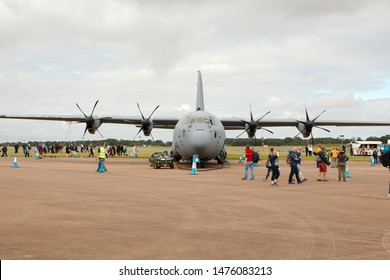 RAF Fairford, Gloucestershire UK - 20th July 2019. The distinctive frontal view of a C130 Hercules transport aircraft