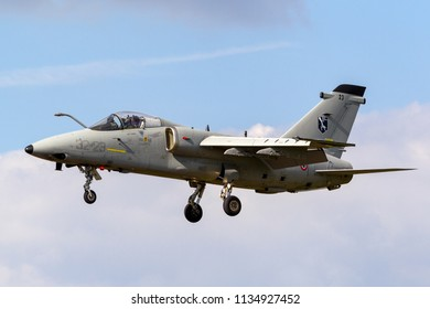 RAF Fairford, Gloucestershire, UK - July 11, 2014: Italian Air Force (Aeronautica Militare) AMX International AMX A-11 attack aircraft MM7115 from the flight test Squadron Reparto Sperimentale Volo.