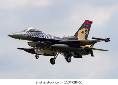 RAF Fairford, Gloucestershire, UK - July 9, 2014: Turkish Air Force (Turk Hava Kuvvetleri) General Dynamics F-16CG Fighting Falcon 91-0011 of the Solo Turk display team.