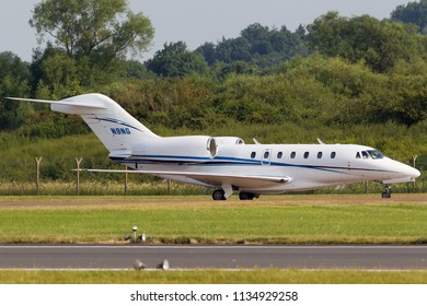 RAF Fairford, Gloucestershire, UK - July 12, 2014: Cessna 750 Citation X large business jet N9NG.