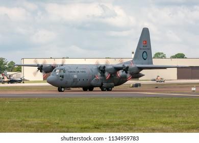 RAF Fairford, Gloucestershire, UK - July 9, 2014: Turkish Air Force (Turk Hava Kuvvetleri) Lockheed C-130E Hercules military transport aircraft 63-3187.