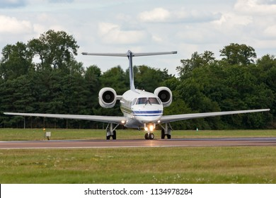 RAF Fairford, Gloucestershire, UK - July 14, 2014: Belgian Air Component (Belgian Air Force) Embraer ERJ-135LR (Legacy 600) VIP jet aircraft CE-02.