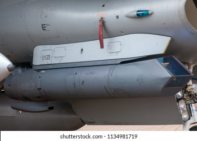 RAF Fairford, Gloucestershire, UK - July 11, 2014: Lockheed Martin AN/AAQ-33 Sniper targeting pod for military aircraft that provides target identification, tracking and precision weapons guidance.