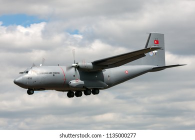 RAF Fairford, Gloucestershire, UK - July 14, 2014: Turkish Air Force (Turk Hava Kuvvetleri) Transall C-160D military cargo aircraft 69-032.