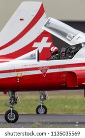 RAF Fairford, Gloucestershire, UK - July 13, 2014: Northrop F-5E fighter aircraft from the Swiss Air Force formation display team Patrouille Suisse.