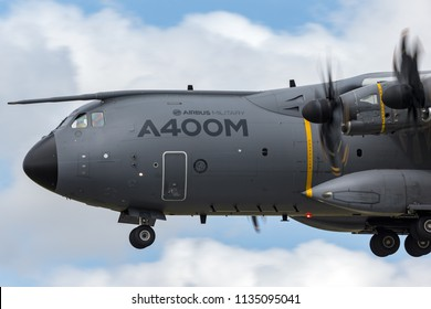 RAF Fairford, Gloucestershire, UK - July 12, 2014: Airbus Military (Airbus Defense and Space) A400M Atlas four engined large military transport aircraft F-WWMZ.