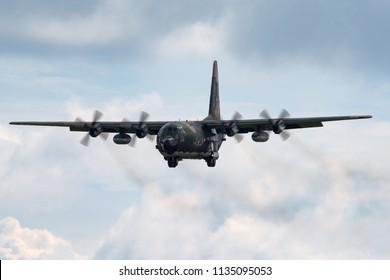 RAF Fairford, Gloucestershire, UK - July 9, 2014: Algerian Air Force Lockheed C-130H Hercules military cargo aircraft 7T-WHE.