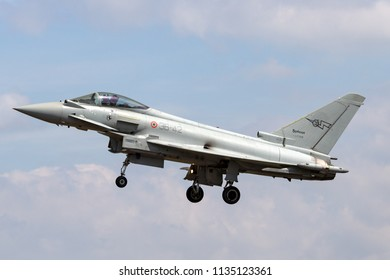 RAF Fairford, Gloucestershire, UK - July 9, 2014: Italian Air Force Eurofighter EF-2000 Typhoon multirole fighter aircraft MM7288 from the flight test Squadron Reparto Sperimentale Volo.
