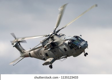 RAF Fairford, Gloucestershire, UK - July 14, 2014: Royal Navy AgustaWestland Merlin HM.2 (EH101) Anti-Submarine Warfare Helicopter.