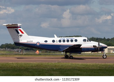 RAF Fairford, Gloucestershire, UK - July 14, 2014: Royal Air Force (RAF) Hawker Beechcraft B200GT King Air ZK458 from 45(R) Squadron, 3 Flying Training School based at RAF Cranwell.