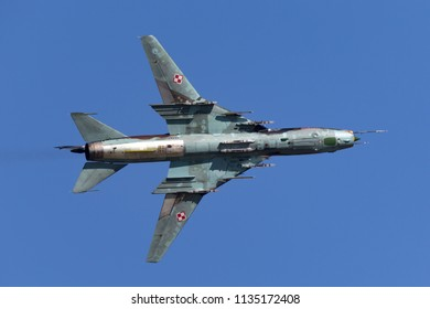 RAF Fairford, Gloucestershire, UK - July 10, 2014: Polish Air Force (Sily Powietrzne) Sukhoi Su-22 Fitter attack aircraft.