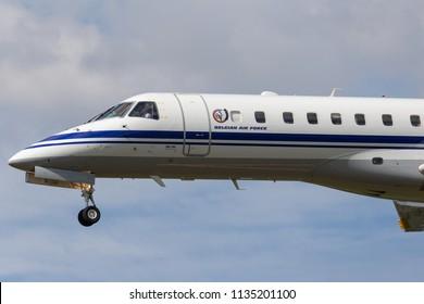 RAF Fairford, Gloucestershire, UK - July 11, 2014: Belgian Air Component (Belgian Air Force) Embraer ERJ-135LR (Legacy 600) VIP jet aircraft CE-02.