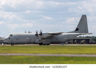 RAF Fairford, Gloucestershire, UK - July 11, 2014: Italian Air Force (Aeronautica Militare Italiana) Lockheed Martin C-130J-30 Hercules military cargo aircraft MM62196.