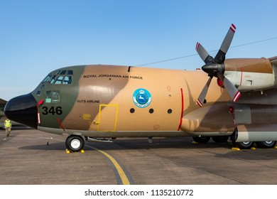 RAF Fairford, Gloucestershire, UK - July 12, 2014: Royal Jordanian Air Force Lockheed C-130H Hercules military transport aircraft.