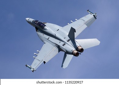 RAF Fairford, Gloucestershire, UK - July 12, 2014: United States Navy Boeing F/A-18F Super Hornet mulitrole fighter aircraft.