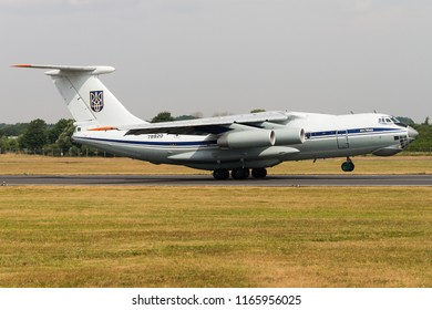 RAF FAIRFORD, GLOUCESTERSHIRE, UK - JULY 16: An Ilyushin IL-76 military transport aircraft of the Ukrainian Air Force on July 16, 2018 at RAF Fairford, Gloucestershire, UK.