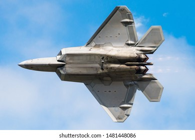 RAF FAIRFORD, GLOUCESTERSHIRE, UK - JULY 16: USAF F-22 Raptor aircraft demonstration during the Royal International Air Tattoo on July 16, 2017 at RAF Fairford, Gloucestershire, UK.