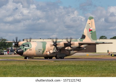 RAF Fairford, Gloucestershire, UK - July 14, 2014: Royal Air Force of Oman Lockheed Martin C-130J Hercules military transport aircraft.