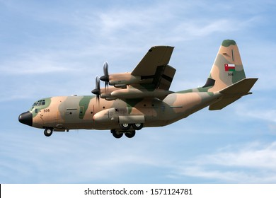 RAF Fairford, Gloucestershire, UK - July 10, 2014: Royal Air Force of Oman Lockheed Martin C-130J Hercules military transport aircraft.