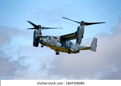 RAF Fairford, Gloucestershire, UK - July 20 2019: A United States Air Force Bell Boeing CV-22B Osprey tiltrotor military aircraft at the 2019 RIAT