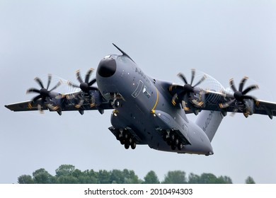 RAF Fairford, Gloucestershire, UK - July 7 2012: An Airbus A400M Atlas Military Transport Aircraft, F-WWMZ, takes off at the 2012 Royal International Air Tattoo at RAF Fairford in Gloucestershire, UK