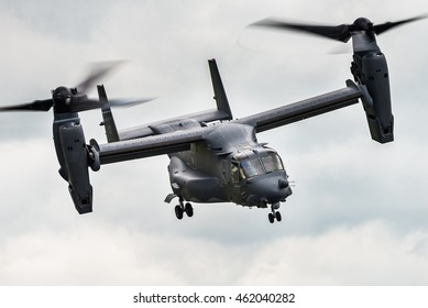 RAF FAIRFORD, GLOUCESTERSHIRE, UK - JULY 10: Demonstration of a Bell Boeing MV-22B Osprey on July 10, 2016 at the Royal International Air Tattoo at RAF Fairford, Gloucestershire, UK.