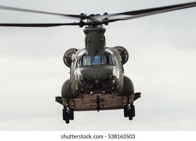 RAF FAIRFORD, GLOUCESTERSHIRE, UK - JULY 10: Demonstration of a Boeing CH-47 Chinook transport helicopter on July 10, 2016 at the Royal International Air Tattoo at RAF Fairford, Gloucestershire, UK.