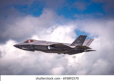 RAF FAIRFORD, GLOUCESTERSHIRE, UK - JULY 10:2016: Demonstration of a Lockheed Martin F-35 Lightning II on July 10, 2016 at the Royal International Air Tattoo at RAF Fairford, Gloucestershire, UK.