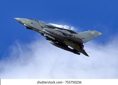 RAF Fairford, Gloucestershire, UK - July 16th 2011: A Panavia Tornado GR4 from No XV(R) Squadron, RAF Lossiemouth, at the Royal International Air Tattoo, RAF Fairford, Gloucestershire, United Kingdom.