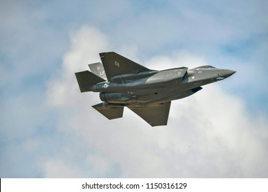 RAF FAIRFORD, GLOUCESTERSHIRE, UK.13 July 2018. RAF shows off its new Lockheed Martin F-35B Lightning II stealth fighter bomber aircraft at the Royal International Air Tattoo flying display