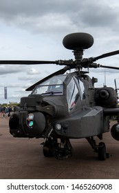 RAF Fairford in Gloustershire on Friday 19th July, Boeing AH-64D Apache Longbow on static display at the RIAT 2019.