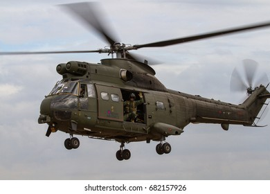 RAF FAIRFORD, UK - 13 JULY: Royal Air Force Puma Helicopter lands at The Royal International Air Tattoo on 13th July 2017