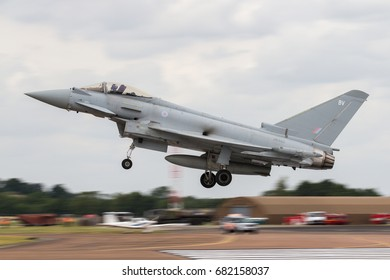 RAF FAIRFORD, UK - 13 JULY: Royal Air Force Typhoon lands at The Royal International Air Tattoo on 13th July 2017