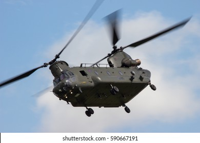 RAF FAIRFORD, UK - 8 JULY: An Royal Airforce Chinook Helicopter display its flying potential at The Royal International Air Tattoo on 8th July 2016