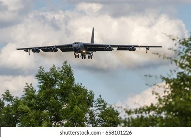 RAF FAIRFORD, UNITED KINGDOM - JUNE 1: An American Air Force Boeing B52 Stratofortress arrives to take part in the Baltops and Sabrerstrike Exercises on June 1st, 2017 in Fairford, Gloucestershire, UK