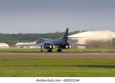 RAF FAIRFORD, UNITED KINGDOM - JUNE 9: An American Air Force B1b Bomber takes off to take part in the Baltops and Sabrerstrike Exercises on June 9th, 2017 in Fairford, Gloucestershire, UK