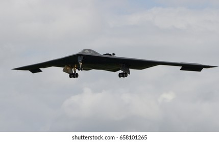RAF FAIRFORD, UNITED KINGDOM - JUNE 9: An American Air Force B2 Stealth Bomber arrives as part of exercises on June 9th, 2017 in Fairford, Gloucestershire, UK