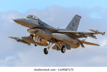 RAF Lakenheath, Suffolk, England on July 30 2018. United States Air Force F-16 Fighting Falcon jet aircraft deployed from Aviano Air Base in Italy