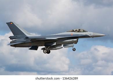 RAF MILDENHALL, SUFFOLK, UK - SEPTEMBER 3: Belgium Air Force Lockheed Martin F-16AM FA-131 landing on September 3, 2010 at RAF Mildenhall, Suffolk, UK.