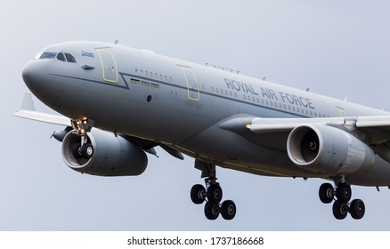 RAF Voyager coming into land at Fairford in England in July 2017.
